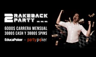 """Gana hasta 1.000 $ en marzo'21 con """"2 Rakeback Party"""" de partypoker"""